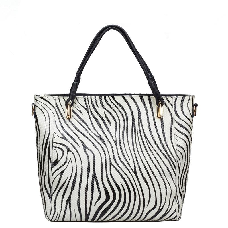 Luxury famous designer brand 100% real genuine leather bags 2016 women zebra handbag high quality ladies tote shoulder bag(China (Mainland))