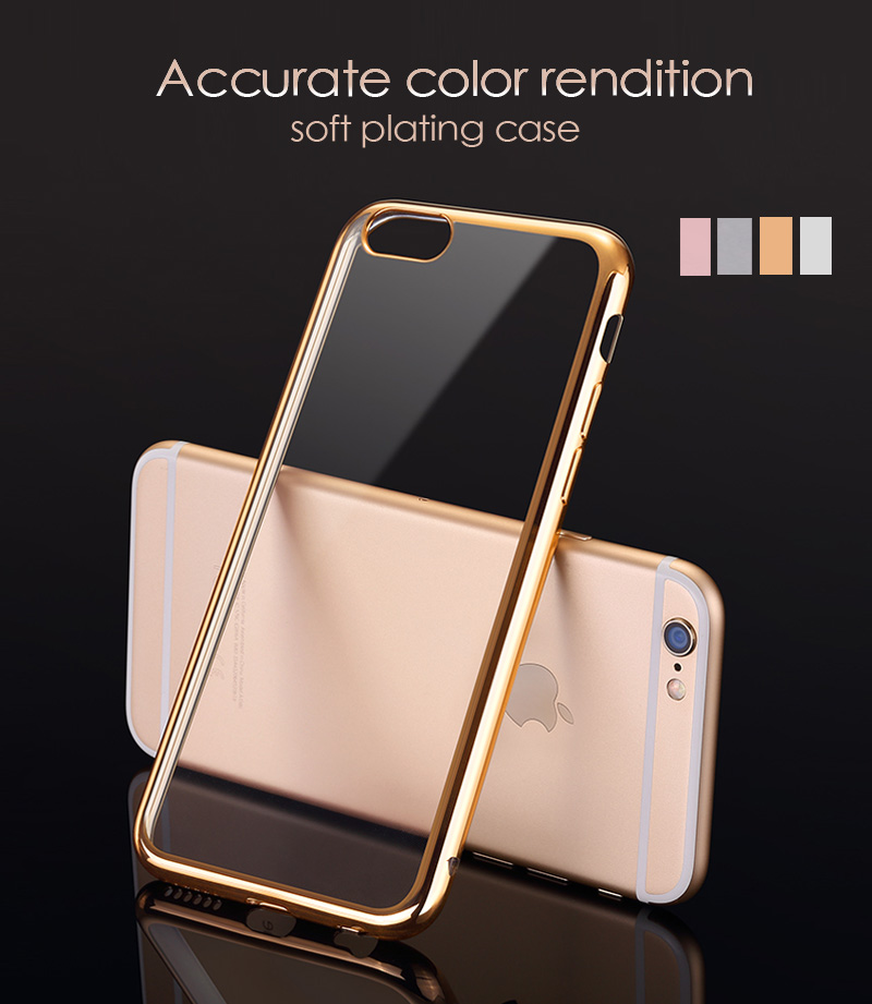 Protective Shock-Absorption Soft Gel Plating TPU Case for iPhone 6 6s Plus,Grey/Silver/Gold/Rose Gold(China (Mainland))