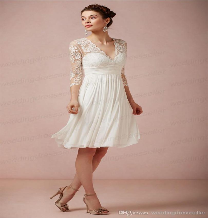 2014 Hot Sell V-neck Lace Quarter Sleeves Knee length Wedding Dresses Chiffon Elegant Cheap Plus Size White Beach Wedding Gowns(China (Mainland))