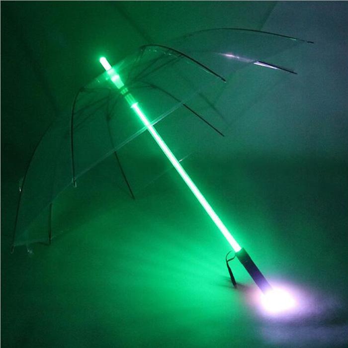 High Quality Star Wars FX The Force Awakens Cosplay Glowing Star Wars Lightsaber Flashing LED Transparent Umbrella Luminous Gift(China (Mainland))