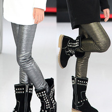 Girls Spring 2015 new fashion pearl leather leggings kids leggings pants girl legging