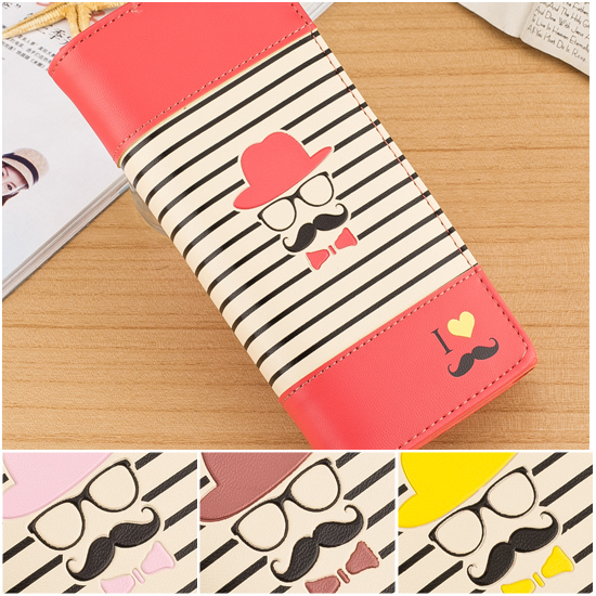 Fashion Classical Zebra Striped Printing Candy Color Mustache Long Women Walltes HASP Women Laides Clutch Portfolio Purse Female(China (Mainland))