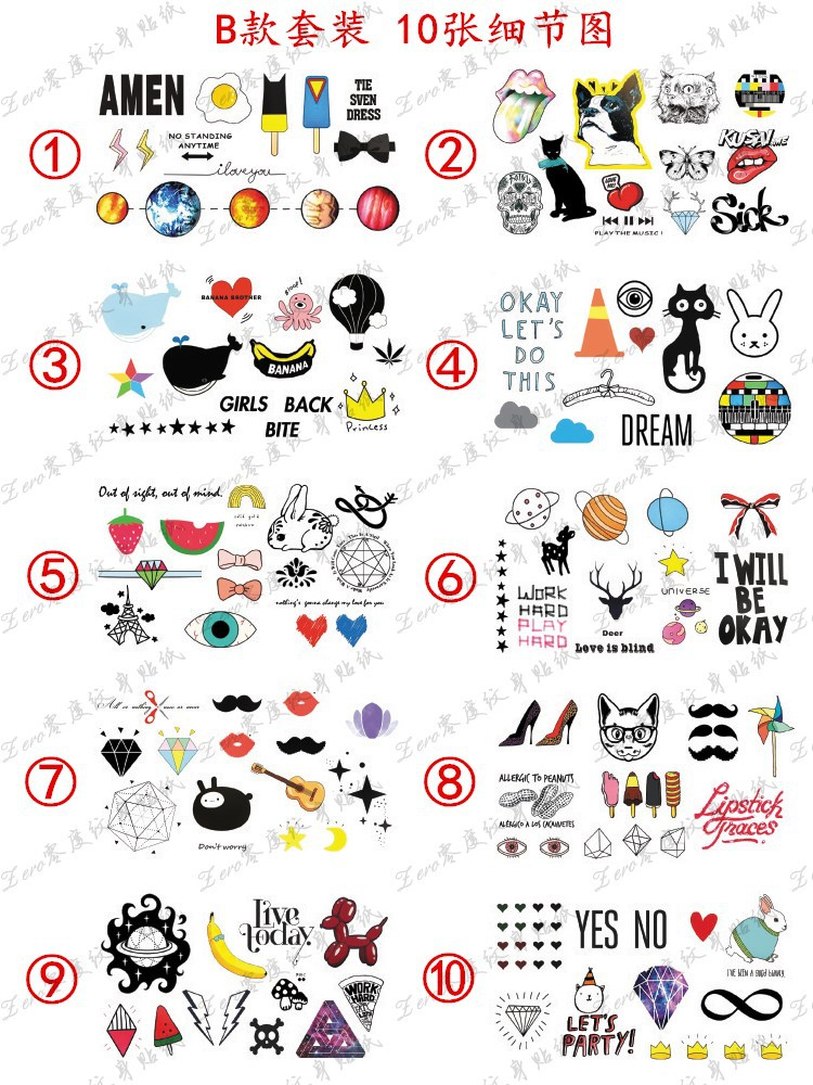 10pcs/lot Male and female temporary Harajuku universe animal Tattoo stickers(China (Mainland))