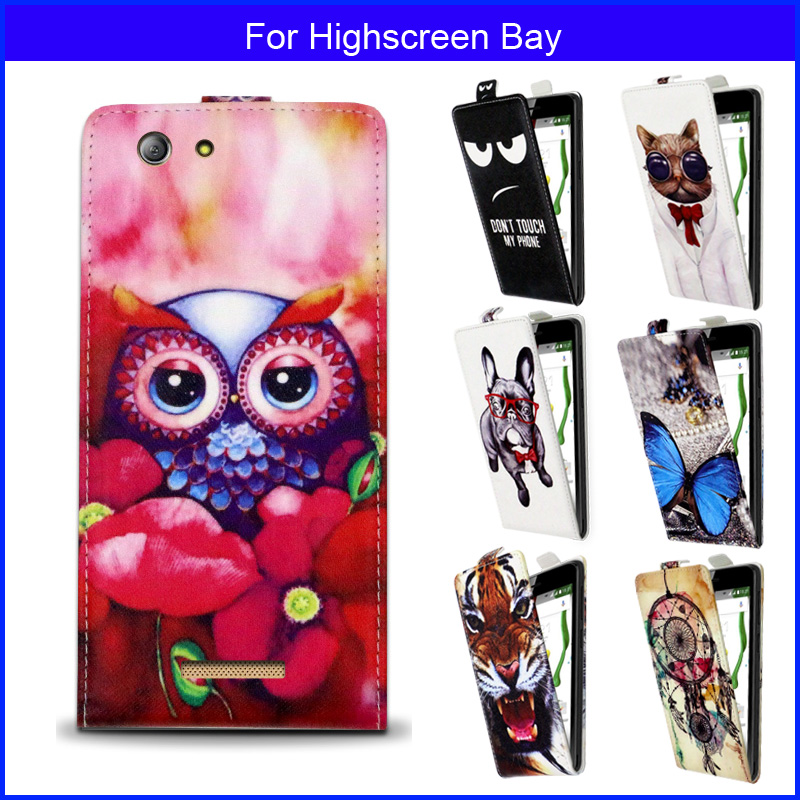 Factory price Fashion Patterns Cartoon Luxury Flip up and down PU Leather Case for Highscreen Bay,Free gift(China (Mainland))
