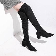 Plardin Kadın Moda Muhtasar Kış Martin Diz Kar çizmeler kadın ayakkabıları Kare Topuk Sivri Burun kadın Kar Botları(China)