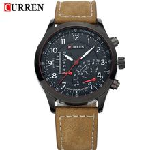 2016 new Curren brand design genuine leather military men cool fashion clock sport male gift wrist quartz business watch 8152