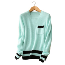 contract color striped knitting pullover 100% cashmere O-neck long sleeve pockets women winter thick sweater clothing
