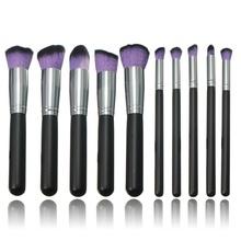 New 10PCS Pro Purple Makeup Brushes Set Foundation Powder Lip Eyebrow Blush Beauty Comestic Brush Tools Free Shgipping