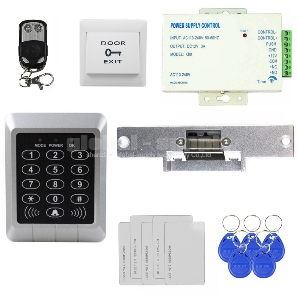 Diy Full Complete Kit 125KHz Rfid Password Keypad Card Door Access Control Kit + Strike Lock For Office / Home Improvement KS157(China (Mainland))