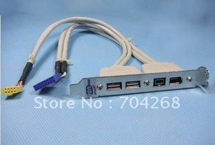 High quaility 2 USB 2.0 Ports + 2 Firewire IEEE 1394 Ports  Expansion Rear Panel Bracket