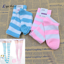 Cute Lolita Over-knee Wide Stripe Cotton Socks Thigh High Socks
