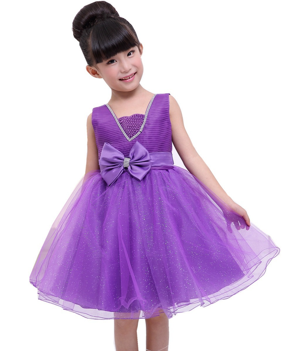 European style. Dress girls party, kids party dress elegant noble. three color options - XinanBui-baby baby store