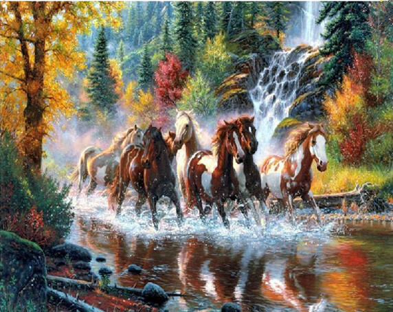 New 3D DIY Diamond Painting rhinestones set Embroidery resin craft red horse river paint Cross Stitch home decor Mosaic inlay(China (Mainland))