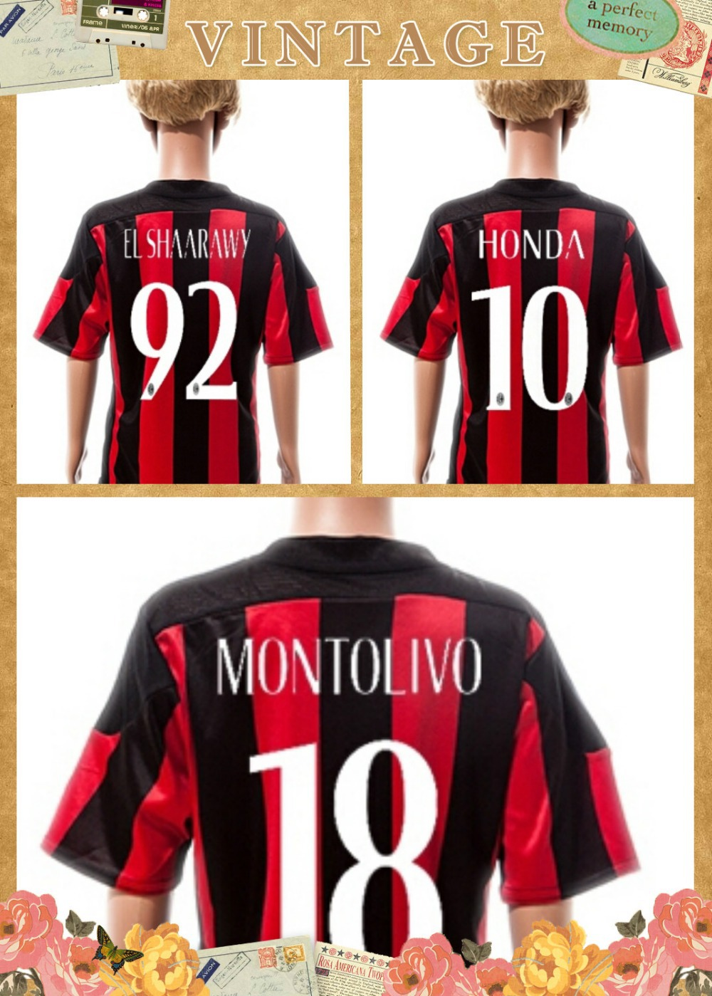 camisa EL SHAARAWY MONTOLIVO children jersey 14-15 camiseta AC Milan infantil soccer boy football uniform kits Ac milan kids(China (Mainland))