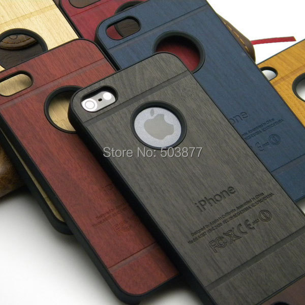 wood case for iphone 5 5S classical Vintage Retro Style case leather sticker pc cover , 1pc free shipping(China (Mainland))