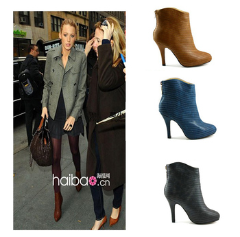 Free Shipping! Hot-selling 2013 autumn high-heeled boots fashion boots ankle-length thin heels boots shoes