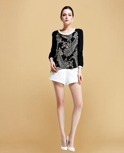 Ladies' Fashionable Simple Long-Sleeve Silk Blouse Embroidery - Party Queen & Princess store