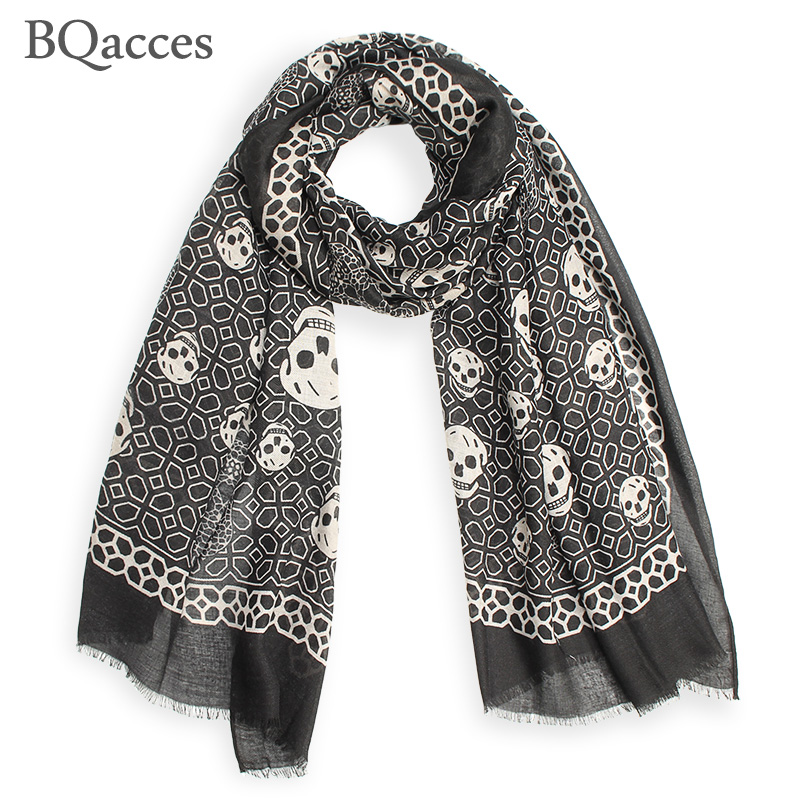 New fashion black white skull print twill cotton scarves with tassel lady long silk scarf high quality autumn hijab shawl wraps(China (Mainland))
