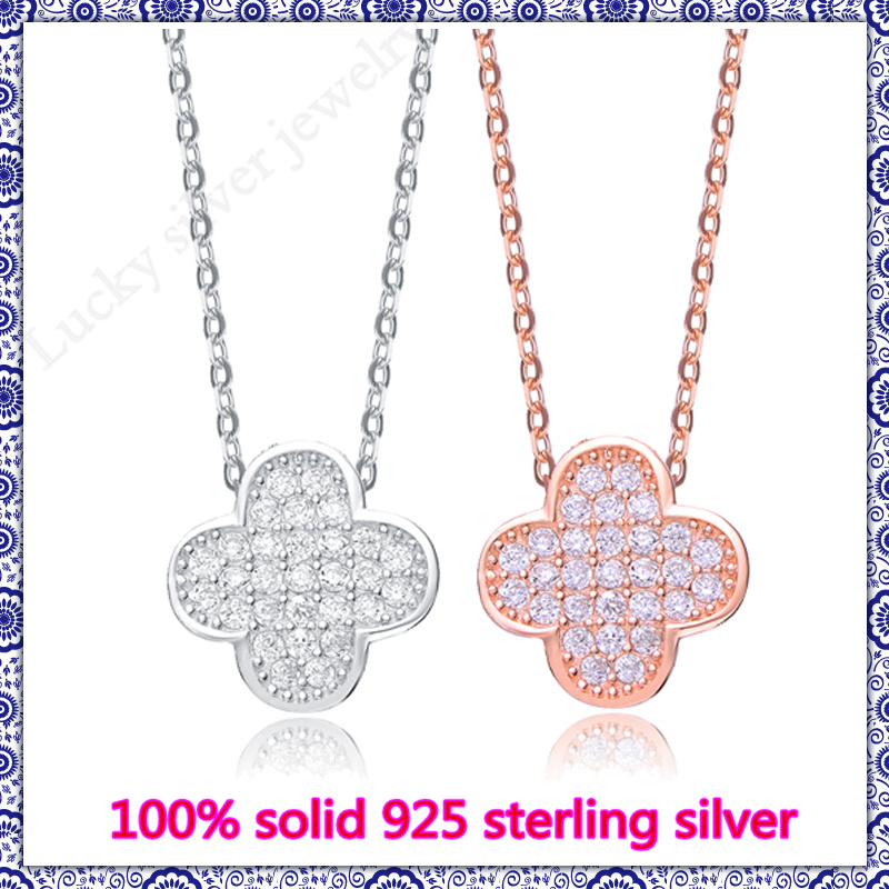 sterling-silver-jewelry pendant necklace of genuine solid 925 sterling silver & CZ rose gold plated  four Leaf Clover  necklace