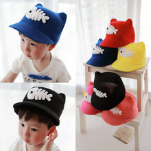 2015 Fashion baby sun hat   casual cap child  yarn knitted cartoon hat  visors(China (Mainland))