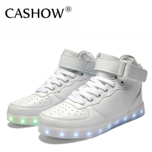 New 2016 Big Size 35-46 USB LED Light Shoes Men Women 7 Colors Glowing Fashion Led Shoes Flats High-top Adults Lumineuse Shoes(China (Mainland))