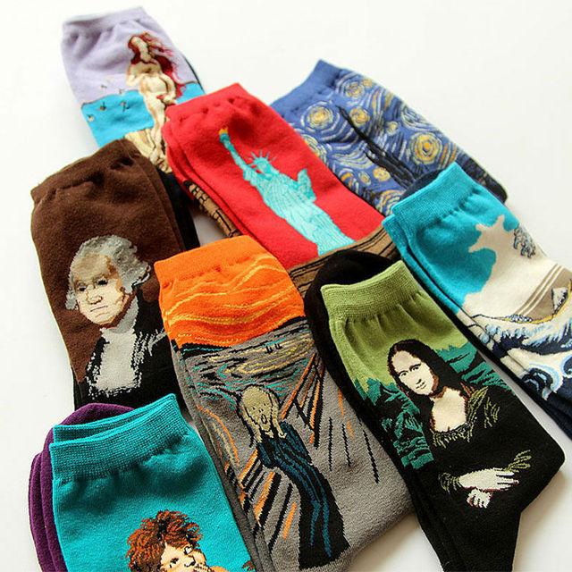 Новинка известный маслом искусства носки женские мужская улица граффити ван гог мона лиза долго носок зима осень носки