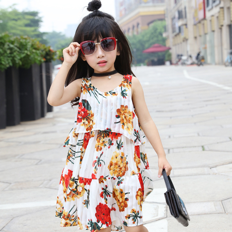 New Summer Girls Dress Floral Sleeveless Chiffon Dress Printing Casual Urban Style Tiered Smooth A-line Dress Girls Clothes(China (Mainland))