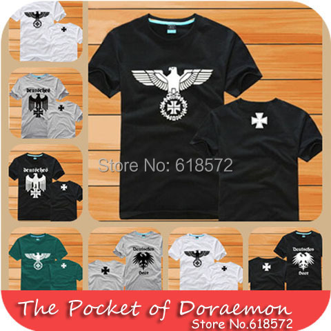 New 2014 summer brand German clothes military t-shirt eagle emblem iron cross men's clothing short-sleeve uniform plus size 4XL(China (Mainland))