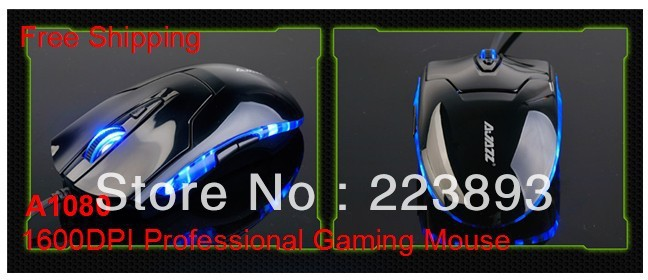 1600DPI A1080 Professional Optical Lighted Gaming Mouse/Computer&Networkings for Desktop,Laptop,Notebook,Wholesale,Free Shipping(China (Mainland))
