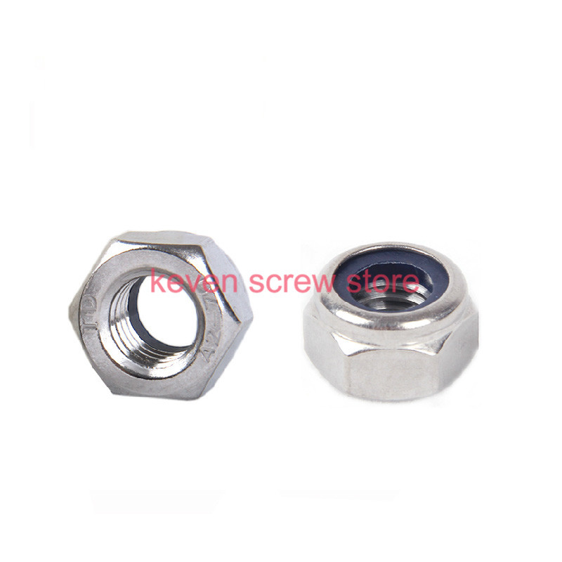 Free shipping 10pcs/lot Metric DIN985 M12 304 Stainless Steel Hex Head Nylon Insert Lock Nuts(China (Mainland))