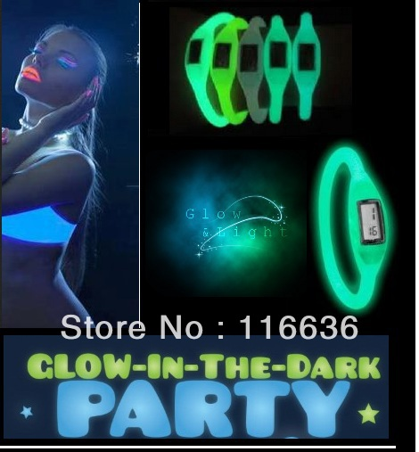 100 pcs Silicone ION Sport WATCH GLOW in the Dark Women Ladies Fashion Silicon Jelly Rubber glowing Parties wholesale LOT(China (Mainland))