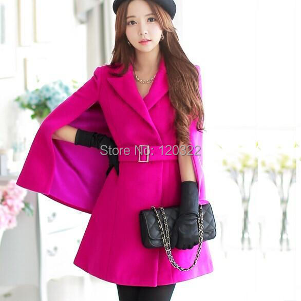 Original New 2014 Brand Autumn and Winter Thick Rose Plus Size Slim Casual Elegant Long Wool Poncho Jacket Women WholesaleОдежда и ак�е��уары<br><br><br>Aliexpress