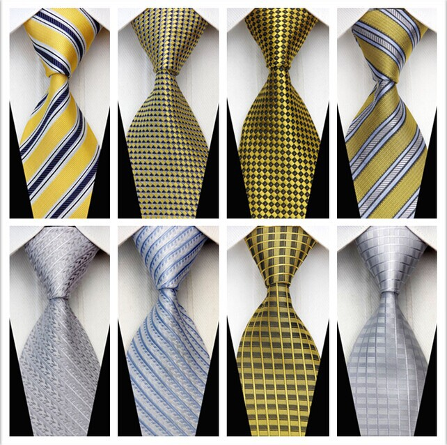 CON165 Gold White Yellow Stripe Smooth Jacquard Elegant Silk Polyester Man Business Wedding Tie Casual Necktie Woven Classic(China (Mainland))