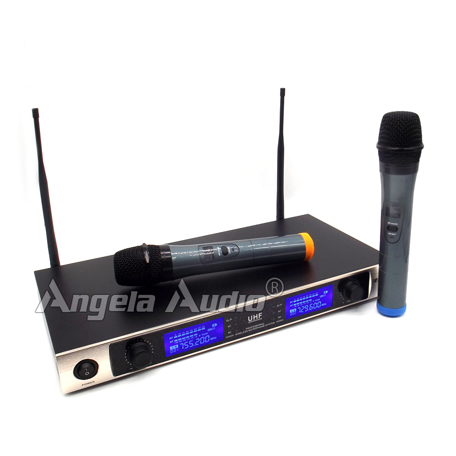 Professional UHF Microphone Wireless Karaoke System Dual Handheld Cordless Mic LED Display Receiver For KTV Stage Singing Mike(China (Mainland))