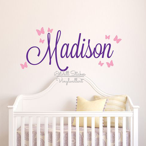 girls name wall sticker baby nursery name butterfly wall name sticker for wall monogram buy 2 get 1 free