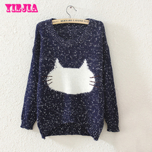 New Arrival 2015 Fashion Autumn Women Sweaters and Pullovers Casual Cute Cats Pattern Print Knitting Girl Ladies Fall Outwear(China (Mainland))