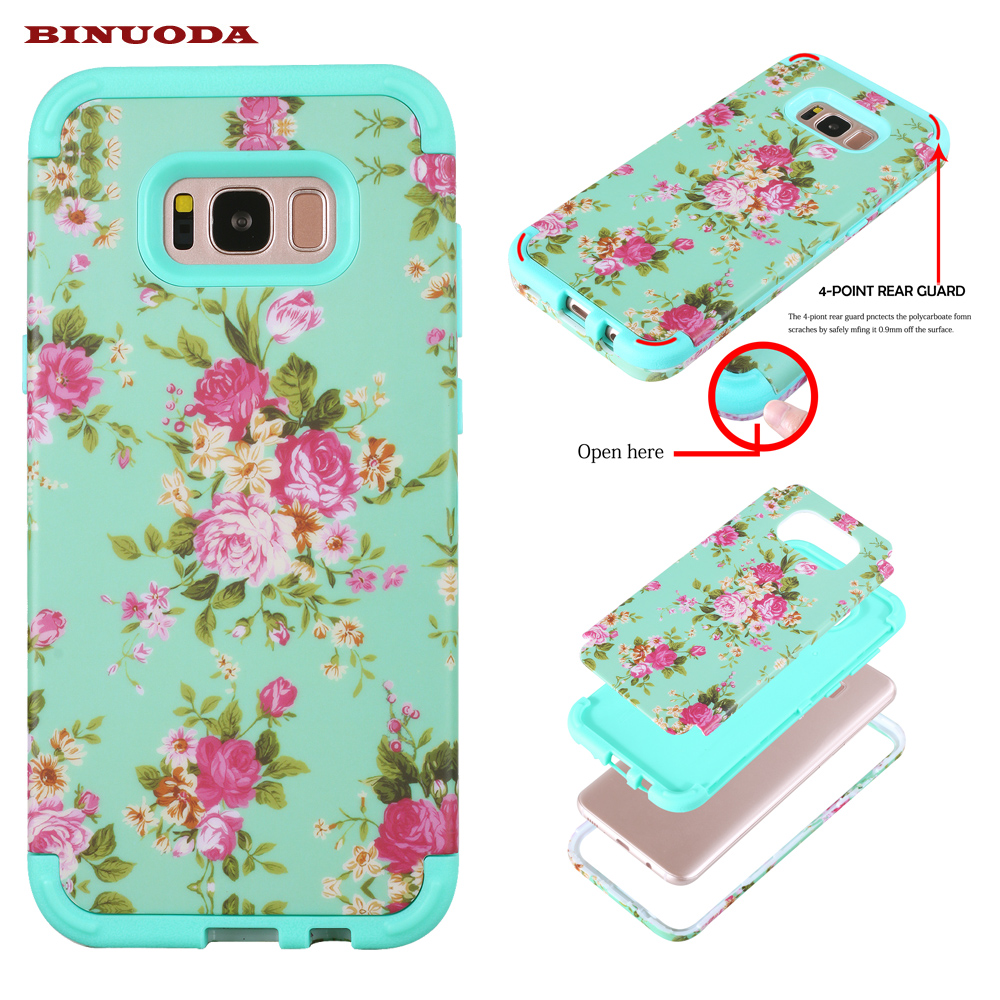 Stylish Mobile Phone Cases for Samsung Galaxy S8 Flower Printing Hard Rubber Covers Cases for Samsung Galaxy S8 / S8 Plus Funda(China (Mainland))