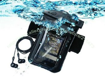 Waterproof Case Bag with earphone for iPhone Cell Phone MP3 MP4,Adjustable Length PVC,Diving case Retail Package + Free Shipping