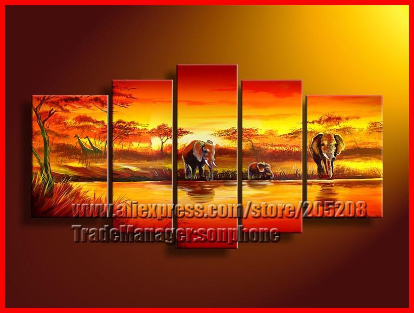 Framed 5 Panels Large African Landscape Elephant Sunset Oil Painting Red 5 Piece Wall Art Home Decoration Picture XD01597(Hong Kong)