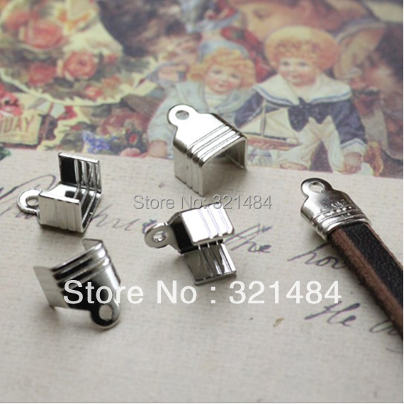 FREE SHIP 1000pc Dull silver/Rhodium plated/Nickel colored crimp tips cord end caps for flat leather cord 5mm<br><br>Aliexpress