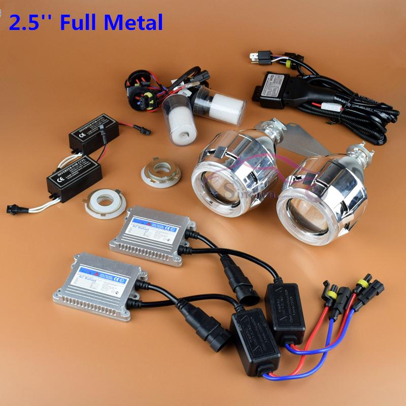 Upgrade Full Metall Premium 2,5 ''Pro Leader VERSTECKTE BiXenon Projector Scheinwerferlinse Full Kit Mit/Ohne Weiß Engel augen Halo(China (Mainland))