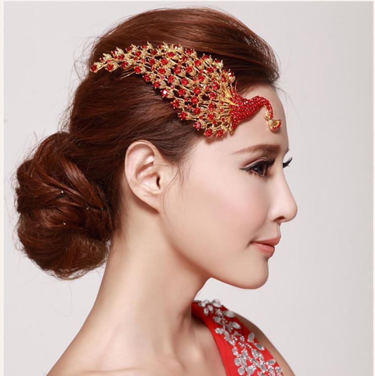 Chinoiserie Women Girls Bridal Wedding Red Phoenix Rhinestone Hair Clip Comb Pin Apparel Accessories Headwear Hair Jewel MA0046(China (Mainland))