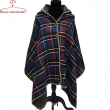 Women hooded cloak cape Plaid tartan scarf shawl Lady upscale double side with button large thicken blanket wrap Bufanda Manta