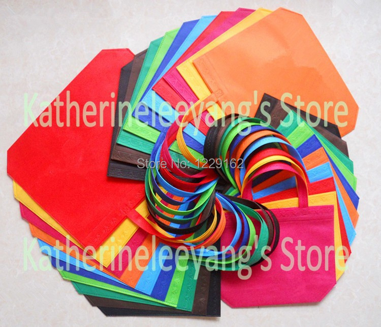 26*33*10CM Promotional Small Nonwoven Gift Bags Colorful Plain Dyed Ultrasonic PP Non woven Shopping Bags(China (Mainland))