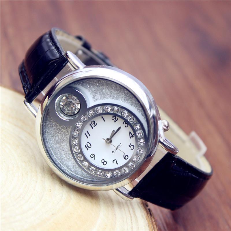Fashion casual rhinestone leather strap watch ladies joker silver quartz wristwatch women dress watches montre femme gift clock<br><br>Aliexpress