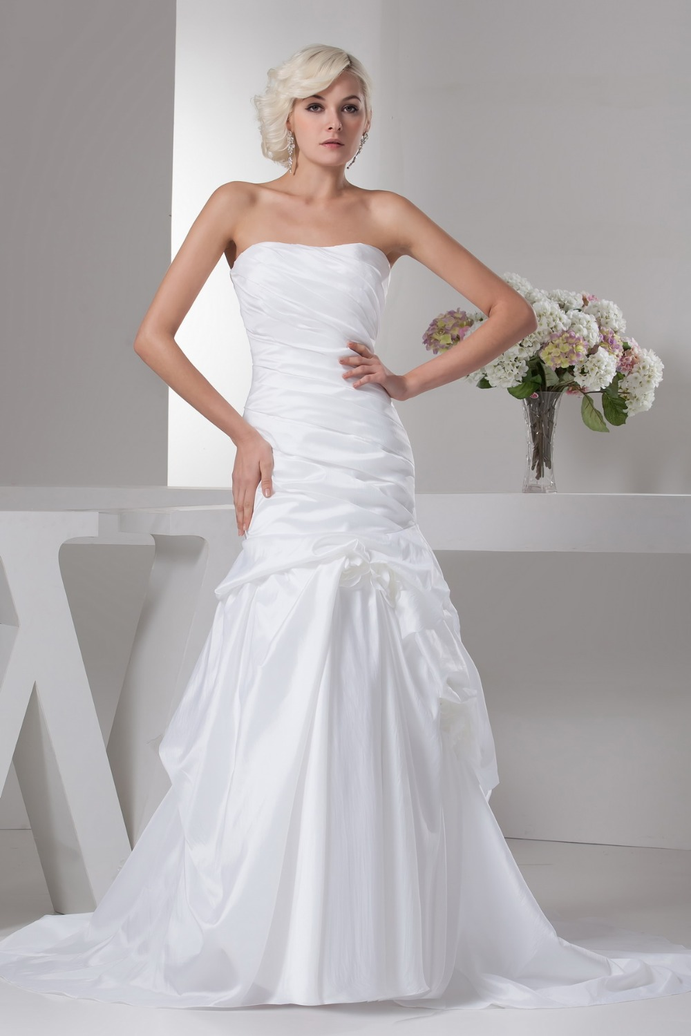 Sheath wedding dress with satin court train off the for Plus size sheath wedding dress