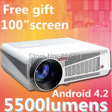 New arrival! brghtness 5500 Lumens Android 4.2 220W LED lamp Full HD projector 3D led lcd Wifi Multimedia  home Projector(China (Mainland))