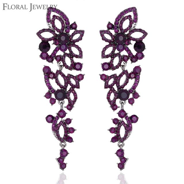 День святого валентина подарки женщины фиолетовый кристалл горный хрусталь длинные серьги EH511