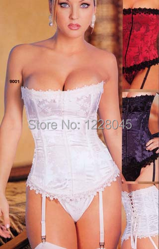 Bustier lingerie white Floral Tapestry,brocade Tapestry satin sexy corset,Jacquard Tapestry Strapless Corset S M L XL XXL XXXL(China (Mainland))