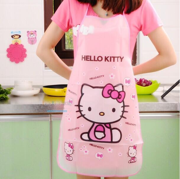 Kawaii Cartoon Hello Kitty Waterproof Apron Kitchen Women Kids Novelty Children Aprons/cute designs(China (Mainland))